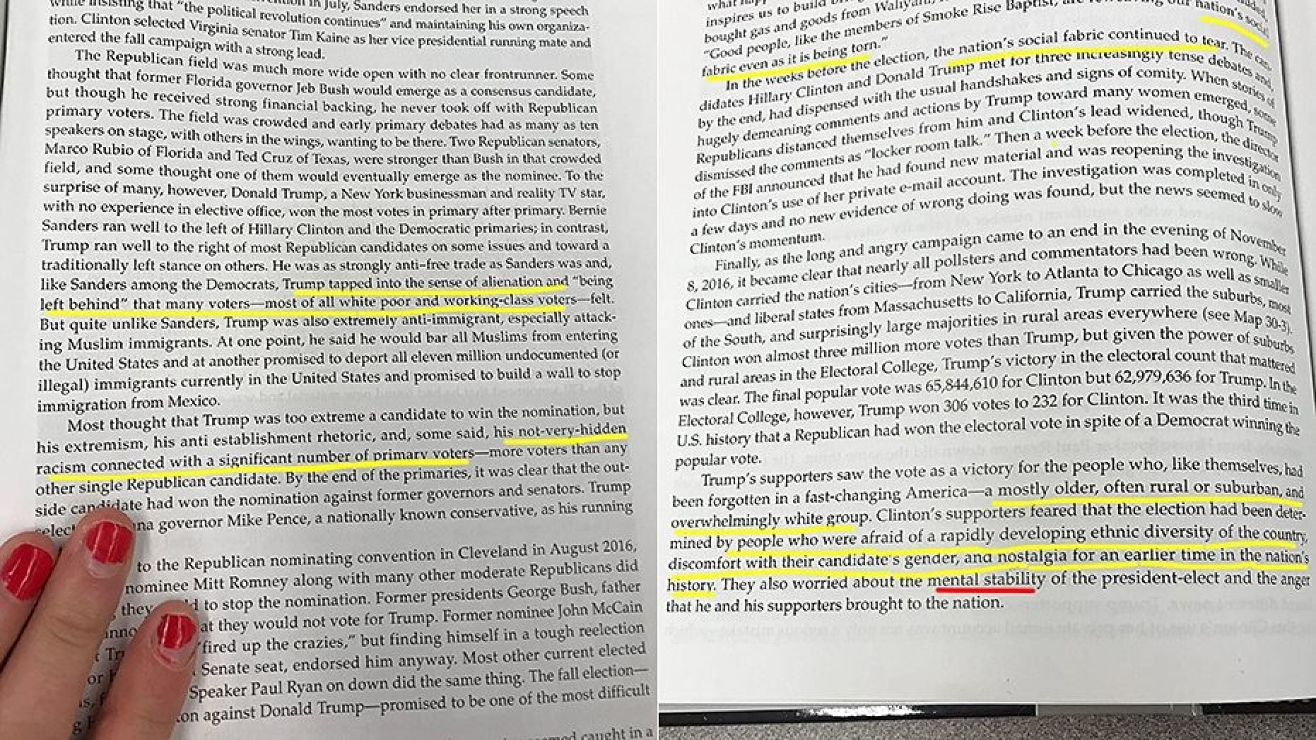 New High School Textbook Describes Trump as Mentally Ill, Supporters as Racist